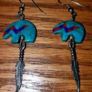 Real turquoise inlayed Earrings